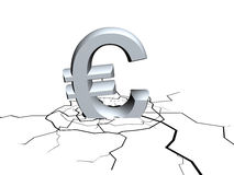 Falling euro sign. 3d sign of euro symbol fall down Royalty Free Stock Photography