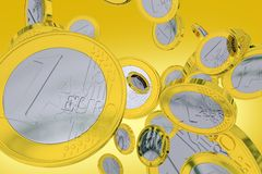 Falling Euros. Falling One Euro Coins - Orange-Yellow Background. European Union Currency. 3D Render illustration Royalty Free Stock Images