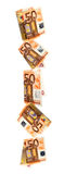 Falling Euros Border over White. Border of falling fifty Euro notes, isolated on white background Stock Photo