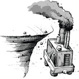 Falling Factory Cart Stock Image