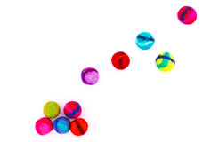 Falling Felt Beads. Falling colorful handmade felt beads Stock Image