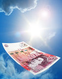 Falling Fifty Pound Banknote Royalty Free Stock Image