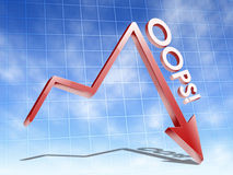 Falling financial graph down Royalty Free Stock Photography