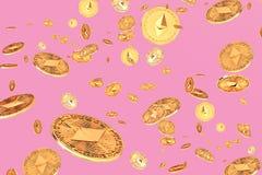 Falling or flying ethereum coins stock illustration