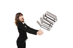 Falling folders Stock Photos