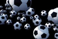 Falling Foot Balls Royalty Free Stock Photography