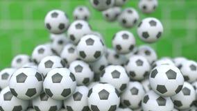 Falling football balls against green field background. 3D rendering. Falling football balls against field background Stock Photos