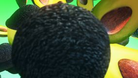 Falling fresh avocado on green background stock illustration