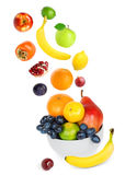Falling fresh color fruits Stock Images