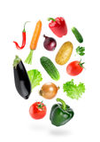 Falling fresh color vegetables Royalty Free Stock Photos
