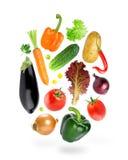 Falling fresh color vegetables Stock Images