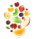 Falling fresh fruits and berries Stock Photos