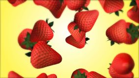 Falling fresh strawberry animation. stock footage
