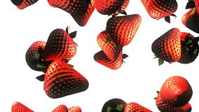 Falling fresh strawberry animation. stock video footage