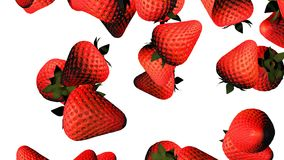 Falling fresh strawberry animation. stock video