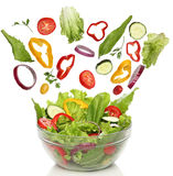 Falling fresh vegetables stock photography
