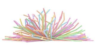 Falling frinking straws Stock Images