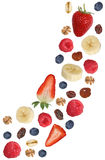 Falling fruit muesli for breakfast with fruits like banana and s Royalty Free Stock Photo