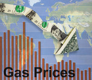 Falling gas prices. Downward pointing dollar arrow over gas prices bar graph Stock Photography