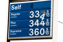 Falling gas prices sign. A sign for gas prices with the numbers falling off Stock Image