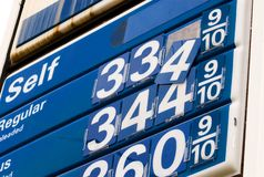 Falling gas prices sign. A sign for gas prices with the numbers falling off Stock Photography