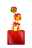 Falling gifts  in a bag for purchases Stock Photography