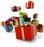 Falling gifts Stock Photography