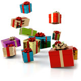 Falling gifts Royalty Free Stock Photos