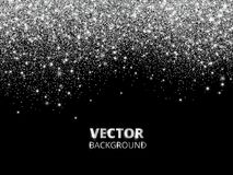 Falling glitter confetti. Vector silver dust, explosion on black background. Sparkling glitter border, festive frame. Great for wedding invitations, party Royalty Free Stock Images