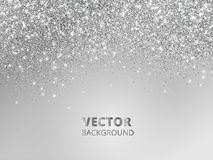 Falling glitter confetti. Vector silver dust, explosion on grey background. Sparkling glitter border, festive frame. Great for wedding invitations, party Royalty Free Stock Images