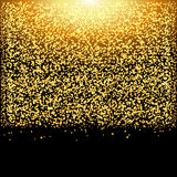 Falling glow gold particles on black background. Luxury design. Holiday, nightclub, party card. Royalty Free Stock Images