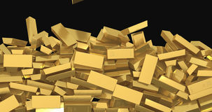 Falling gold bars stock video footage