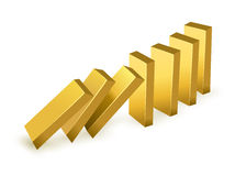 Falling gold bars. Falling price gold concept. Falling gold bars as dominoes. on white background stock illustration