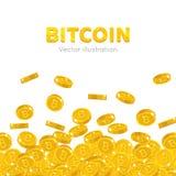Falling gold bitcoins cartoon frame. A rain of the flying gold of bitcoins in the form of a frame in a cartoon style. Falling gold pieces in the form of vector Royalty Free Stock Photos