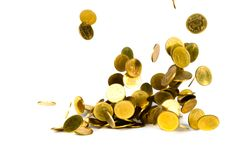 Falling gold coin, flying coin, rain money isolated on white background, business and financial wealth and take profit concept. Idea stock photography