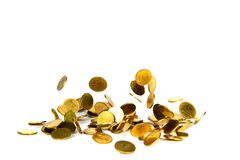 Falling gold coin, flying coin, rain money isolated on white background, business and financial wealth and take profit concept. Idea royalty free stock photo