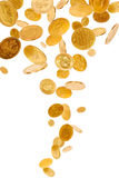 Falling Gold Coins. Old gold coins isolated on white background Stock Photo