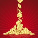 Falling gold coins Stock Images