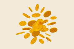 Falling gold coins on beige background. 3d render Royalty Free Stock Photography