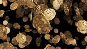 Falling gold coins bitcoin. 4k stock video