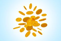 Falling gold coins on blue. 3d render Stock Image