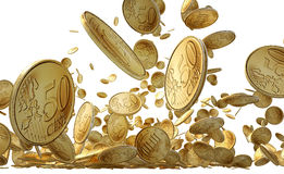Falling Gold Coins Isolated on white Royalty Free Stock Image