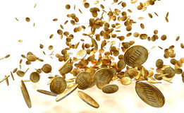 Falling Gold Coins Isolated on white Stock Photos