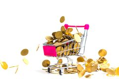 Falling gold coins with shopping cart or supermarket trolley iso. Lated on the white background, business money and market concept. investment idea Royalty Free Stock Photos