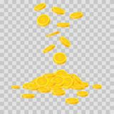 Falling gold coins on transparent background. Cash money heap. Commercial banking, finance concept in flat style.  vector illustration