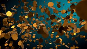 Falling gold coins, underwater blue ocean strategy business concept animation 3D rendering stock illustration