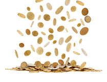 Falling gold coins. On white background Stock Image