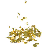 Falling gold coins,  on white Stock Images