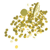 Falling gold coins,  on white Stock Photo
