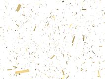 Falling gold confetti on white background. 3D illustration. Christmas festive backdrop Royalty Free Stock Photo